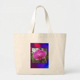 Expresión rosada del romance del amor de la flor bolsa lienzo