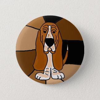 Extracto adorable del arte del perro de Basset Chapa Redonda De 5 Cm