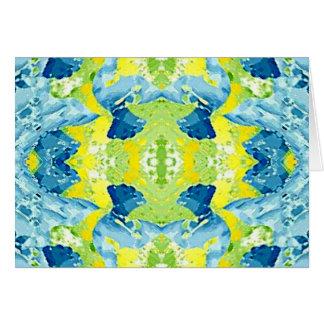 Extracto artístico moderno de la verde lima azul tarjeta de felicitación