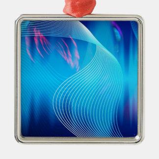 Extracto audio eléctrico azul de la forma de onda adorno cuadrado plateado