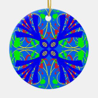 Extracto azul de la flor adorno redondo de cerámica