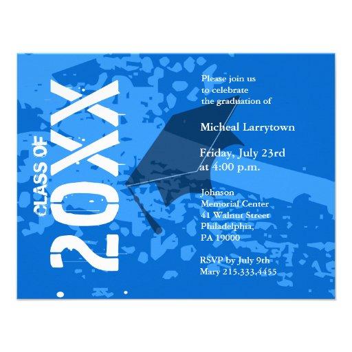 Extracto azul de la invitación ABB231 de la gradua