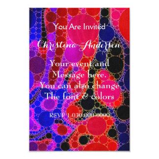 Extracto azul rosado fluorescente del círculo invitación 8,9 x 12,7 cm