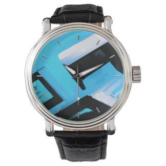 Extracto blanco y negro azul reloj