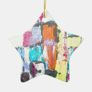 Extracto brillante adorno navideño de cerámica en forma de estrella