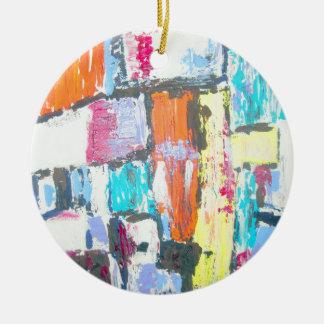 Extracto brillante adorno navideño redondo de cerámica