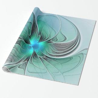 Extracto con arte azul, moderno del fractal papel de regalo
