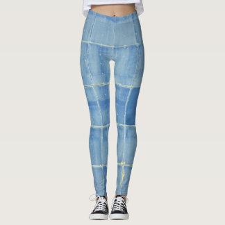 Extracto cuadrado azul leggings