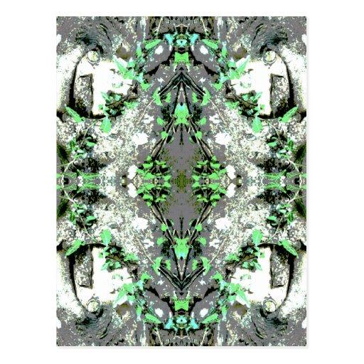 Extracto decorativo en gris y verde tarjeta postal
