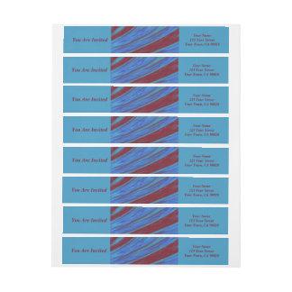 Extracto del chasquido del color de azul rojo etiquetas postales