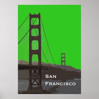 Extracto del Golden Gate en verde Póster
