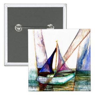 Extracto del velero - arte del océano de CricketDi Chapa Cuadrada 5 Cm