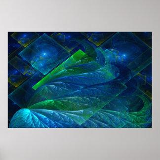 Extracto del vidrio 3D del mar Posters