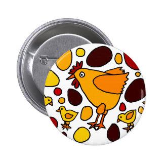 Extracto divertido del arte del gallo y de los pol chapa redonda 5 cm