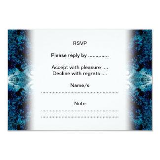 Extracto en azul y trullo. Algunos bordes suaves Invitación 8,9 X 12,7 Cm