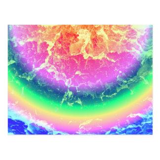 Extracto - en el fuego con colores psicodélicos postal
