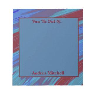 Extracto moderno del chasquido del rojo azul bloc de notas