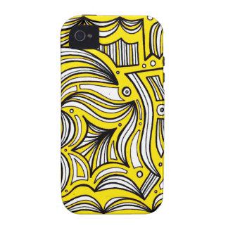 Extracto negro amarillo iPhone 4 fundas