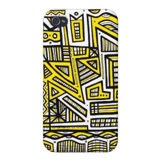 Extracto negro amarillo iPhone 4 protectores