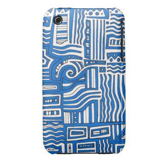 Extracto negro blanco azul iPhone 3 Case-Mate cárcasa