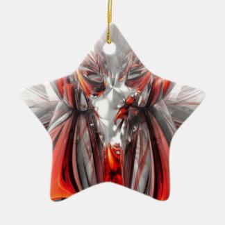 extracto rojo adorno de cerámica en forma de estrella