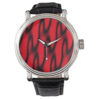 Extracto rojo y negro reloj de mano
