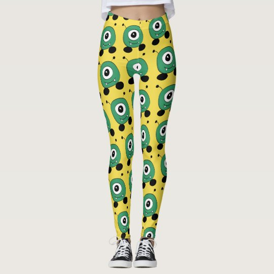 Extranjero verde divertido lindo leggings