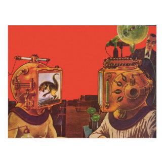 Extranjeros de la ciencia ficción del vintage con postal