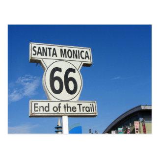 Extremo de California Santa Mónica de la ruta 66 Postal