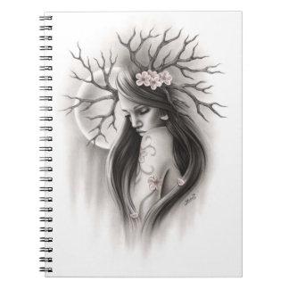 Extremo espiritual de la luna de la primavera del cuaderno