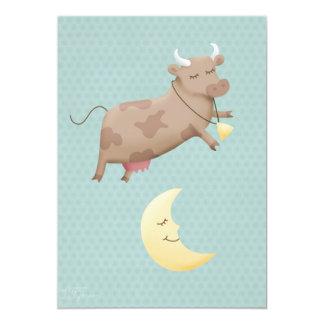 Ey diddle diddle, la vaca saltada sobre la luna invitación 12,7 x 17,8 cm