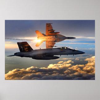 F18 que lanza llamaradas impresiones