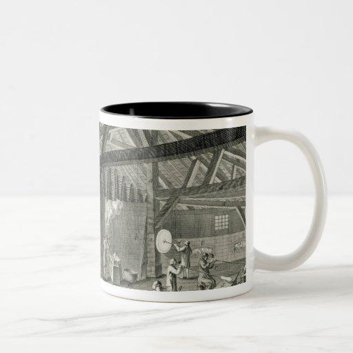 """Fábrica de la vidriería, de la """"enciclopedia"""" por  taza de café"""