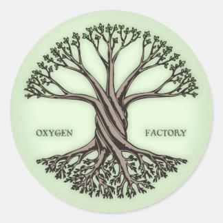 Fábrica del oxígeno pegatina redonda