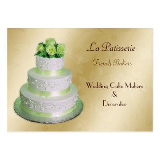 fabricantes verdes del pastel de bodas del oro tarjetas de visita grandes