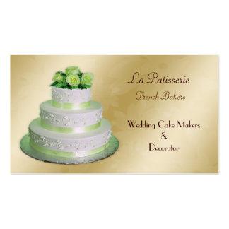 fabricantes verdes del pastel de bodas del oro tarjetas de visita