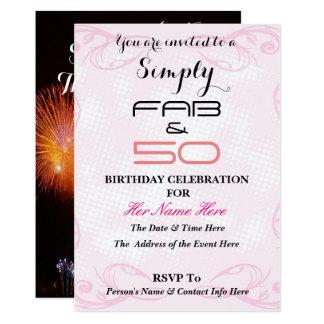 Fabuloso y 50 - simplemente FABULOSO y 50 - Invitación 12,7 X 17,8 Cm
