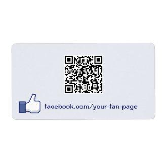 Facebook como etiqueta de la promoción del Web sit Etiquetas De Envío