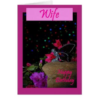 Faerie de hadas de la esposa del feliz cumpleaños  tarjetón