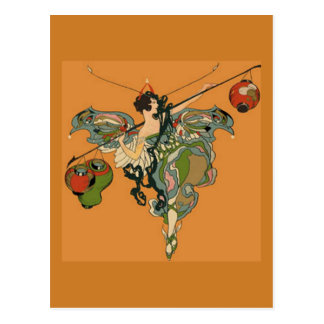 Faerie de la bailarina con las linternas postal