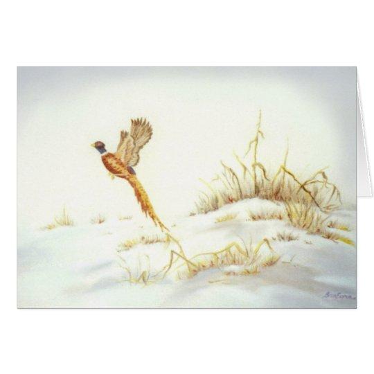 Faisán en pintura al óleo del paisaje Nevado Tarjeta Pequeña