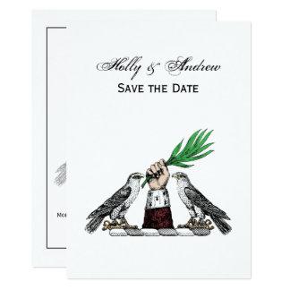 Falcons heráldicos del vintage con el emblema del invitación 12,7 x 17,8 cm