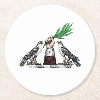Falcons heráldicos del vintage con el emblema del posavasos redondo de papel