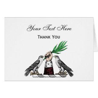 Falcons heráldicos del vintage con el emblema del tarjeta