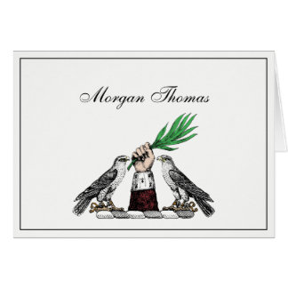 Falcons heráldicos del vintage con el emblema del tarjeta pequeña