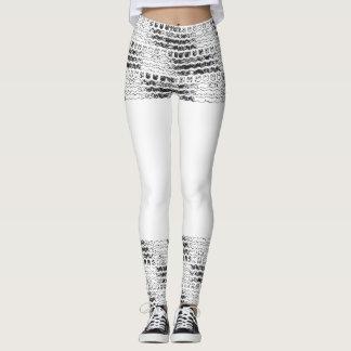 Falda blanco y negro de las polainas de la pisada leggings