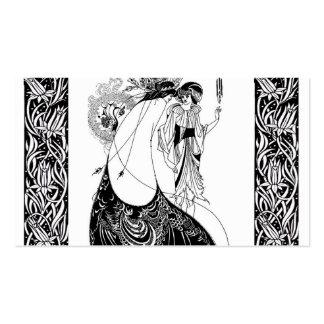 Falda del pavo real de Nouveau Beardsley del arte Tarjetas De Visita