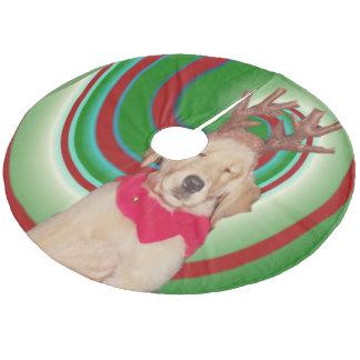 Falda Para El Árbol De Navidad De Forro Coralino billie--de oro-reno