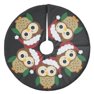 Falda Para El Árbol De Navidad De Forro Coralino Búho adorable del navidad
