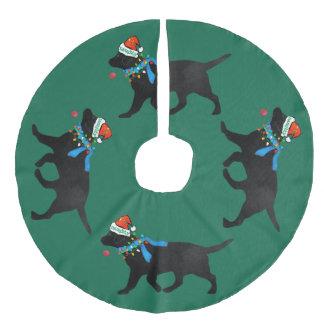 Falda Para El Árbol De Navidad De Lino Sintético Laboratorio negro travieso del navidad